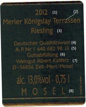 German wine back label